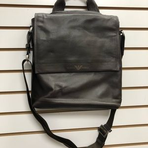 Giorgio Armani leather messenger bag
